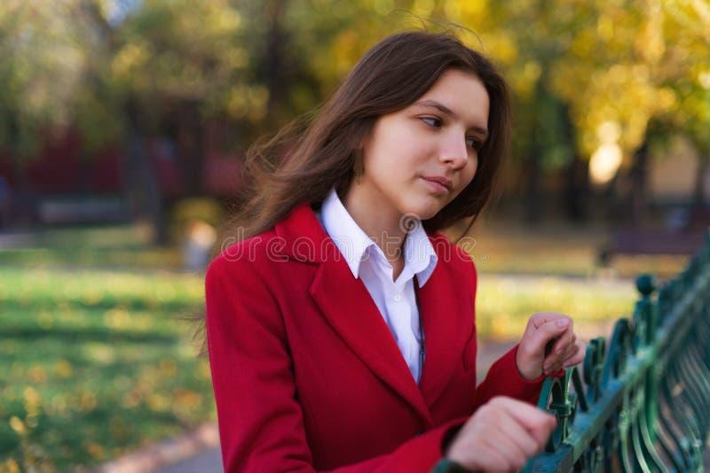 Mujer bonita joven que se coloca en el parque del otoño fotografía de archivo