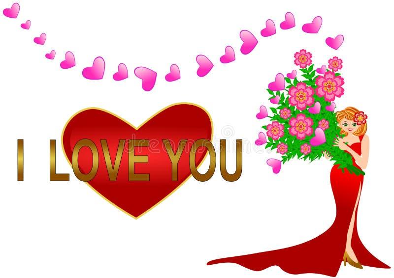 Mujer bonita que sostiene la flor del corazón stock de ilustración