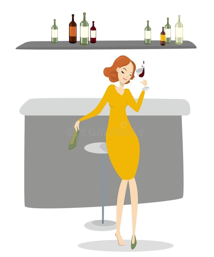 Mujer borracha con el vino stock de ilustración