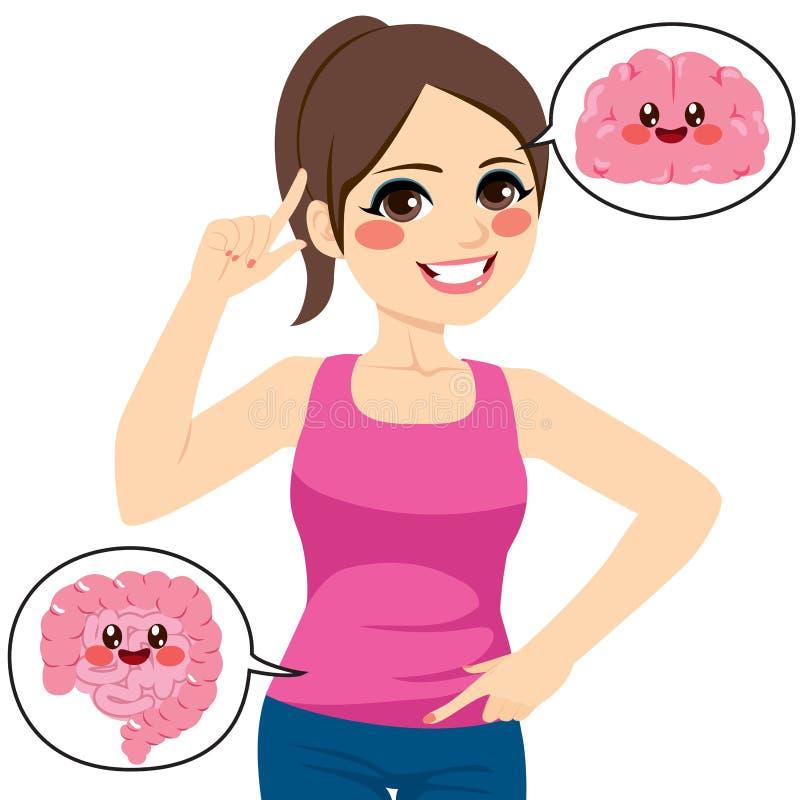 Mujer Brain Intestine stock de ilustración