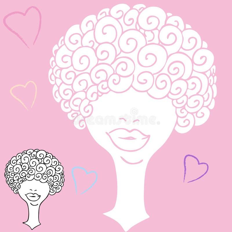 Mujer cabelluda rizada stock de ilustración