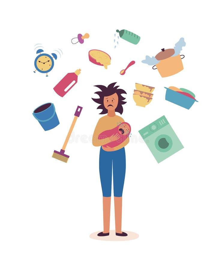 Mujer cansada con los asuntos del bebé y del hogar que vuelan alrededor de su estilo plano de la historieta stock de ilustración