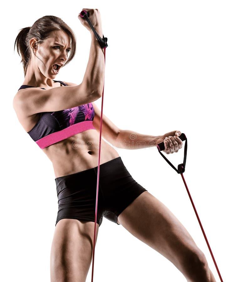 Mujer cardiia de los aeróbicos del ejercicio de la aptitud del entrenamiento de la base de la cruz del boxeo foto de archivo libre de regalías