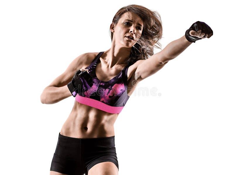 Mujer cardiia de los aeróbicos del ejercicio de la aptitud del entrenamiento de la base de la cruz del boxeo imagen de archivo libre de regalías