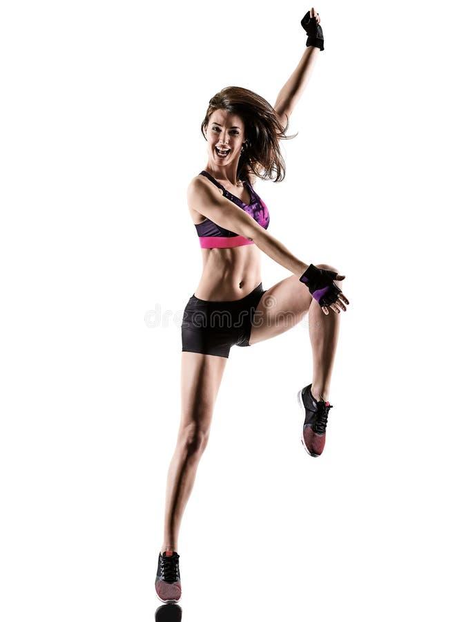 Mujer cardiia de los aeróbicos del ejercicio de la aptitud del entrenamiento de la base de la cruz del boxeo imagen de archivo