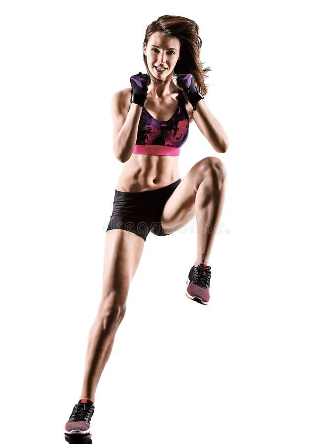 Mujer cardiia de los aeróbicos del ejercicio de la aptitud del entrenamiento de la base de la cruz del boxeo imágenes de archivo libres de regalías
