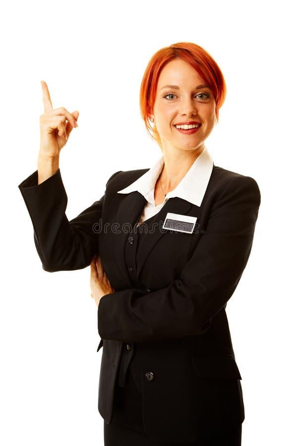 Mujer caucásica como trabajador del hotel fotos de archivo