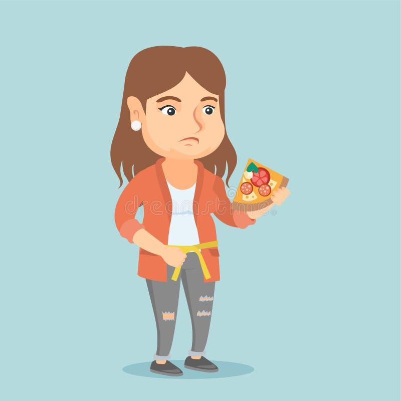 Mujer caucásica gorda con cintura de medición de la pizza ilustración del vector