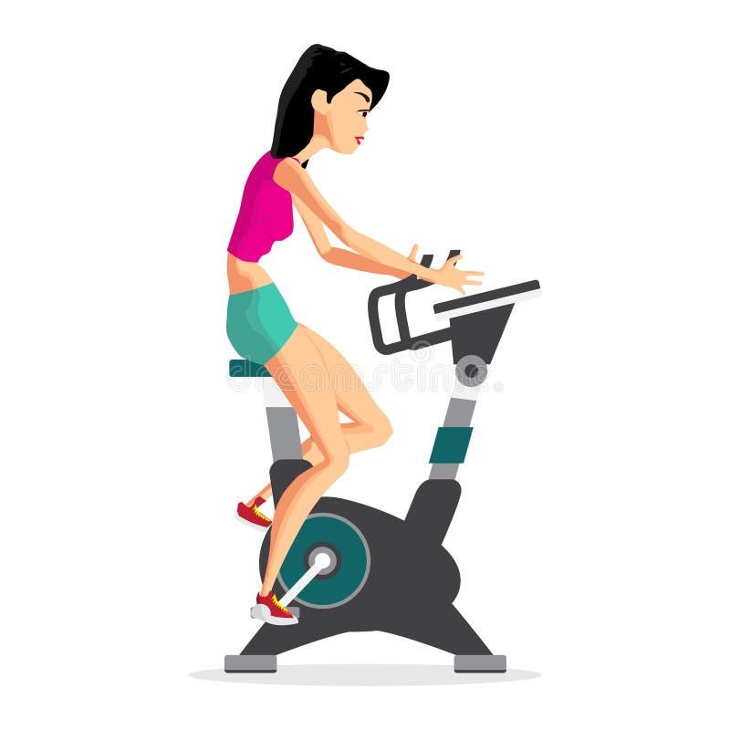 Mujer caucásica que monta la bicicleta inmóvil en el gimnasio Gir deportivo libre illustration