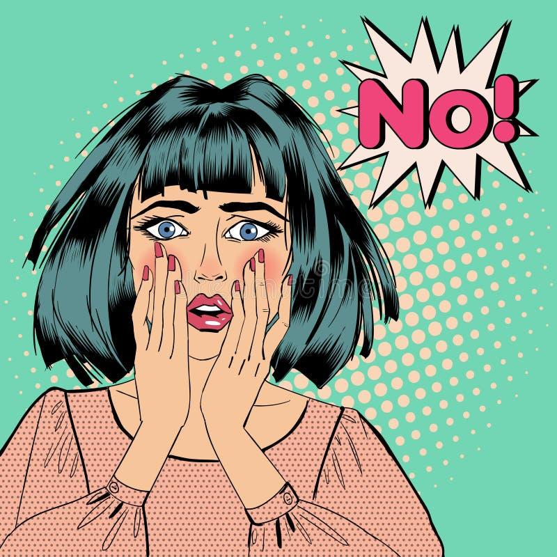 Mujer chocada Expresión de la burbuja ninguna Arte pop stock de ilustración