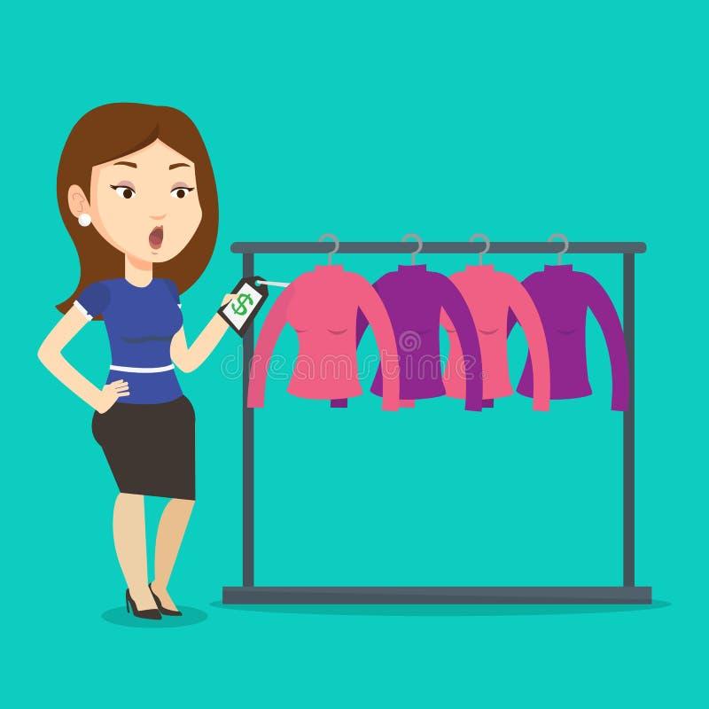 Mujer chocada por el precio en tienda de ropa ilustración del vector
