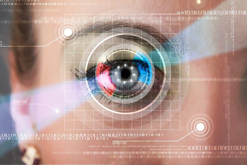 Mujer cibernética con la mirada technolgy del ojo fotografía de archivo