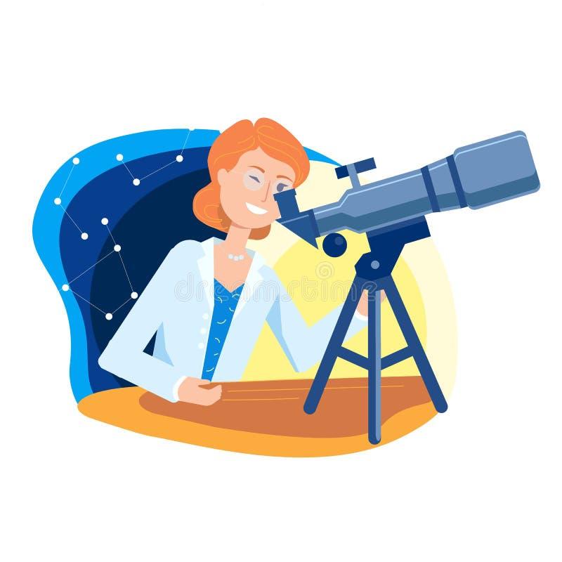 Mujer-científico joven, mirando las estrellas en un telescopio ilustración del vector
