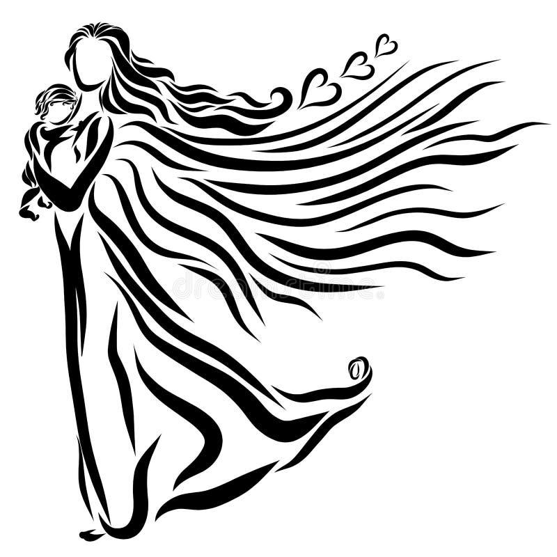 Mujer coa alas con un bebé en sus brazos, amor y cuidado stock de ilustración