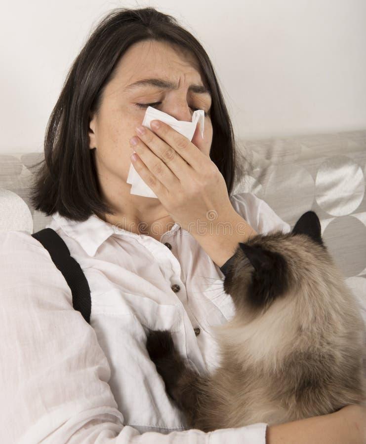 Mujer con alergia de gato fotografía de archivo libre de regalías
