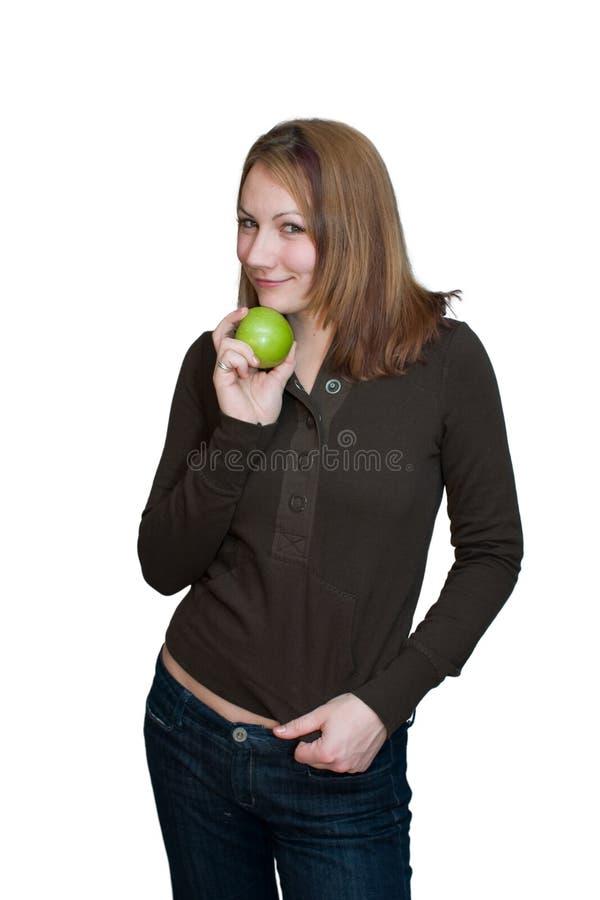 Mujer con Apple foto de archivo libre de regalías