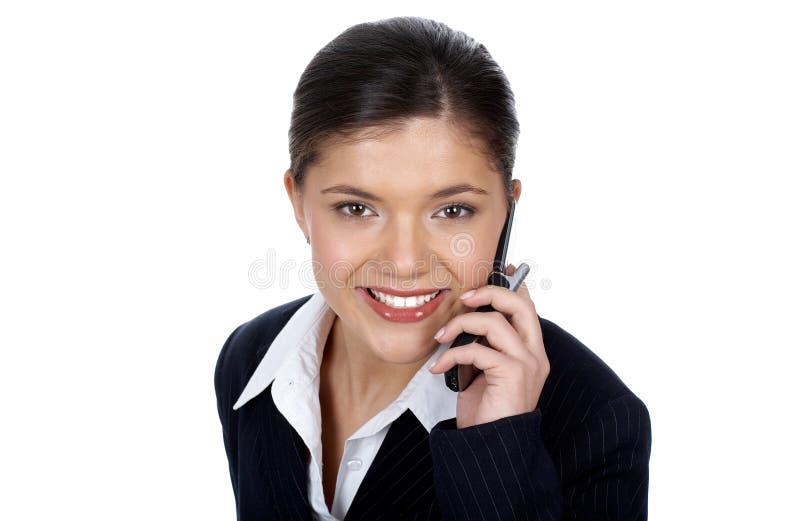 Mujer con celular imagen de archivo libre de regalías