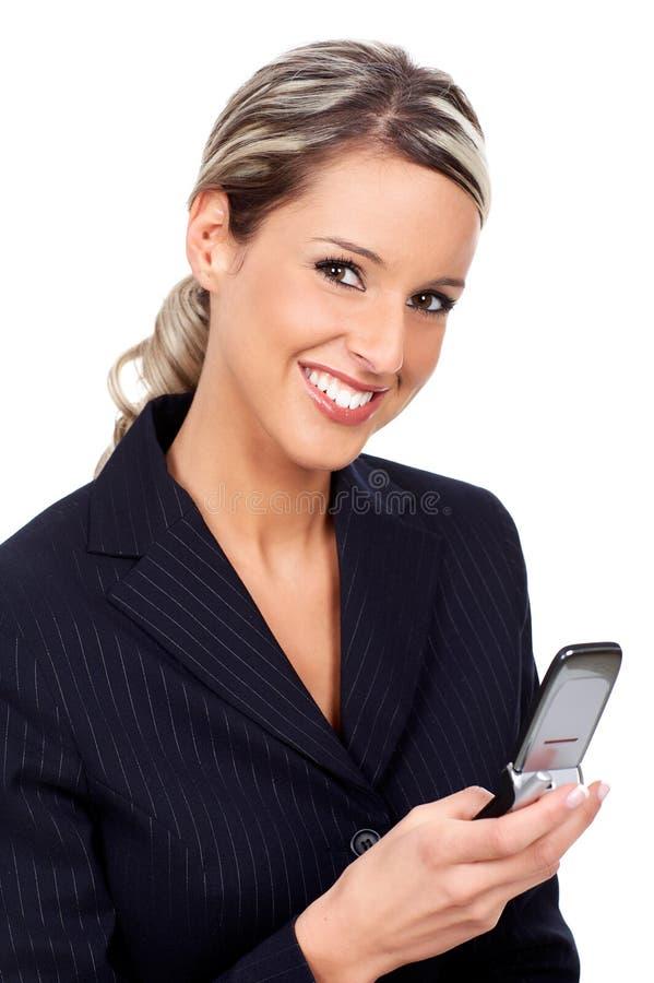 Mujer con celular foto de archivo libre de regalías