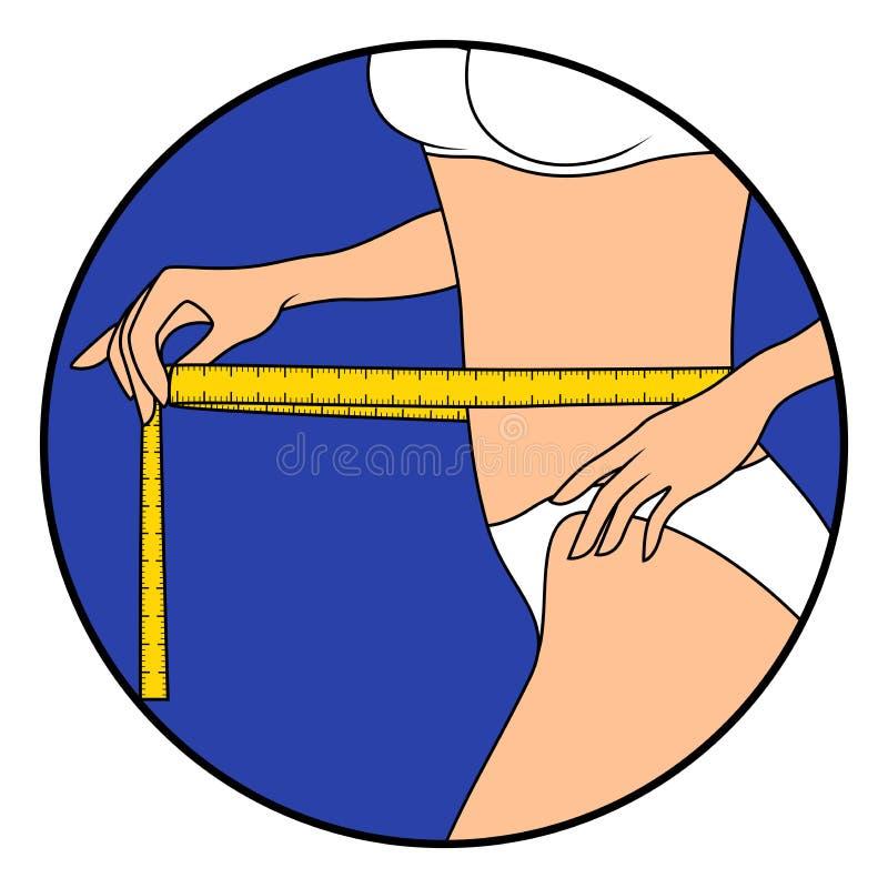 Mujer con cinta métrica alrededor del cuerpo libre illustration