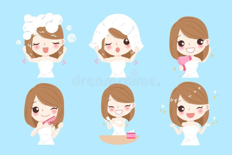 Mujer con cuidado del cabello stock de ilustración