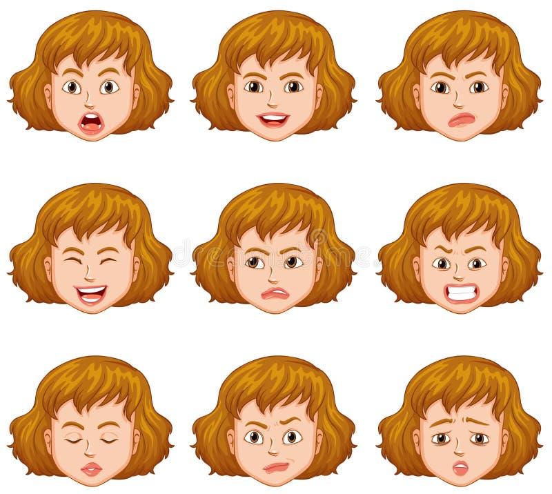 Mujer con diversas expresiones faciales libre illustration