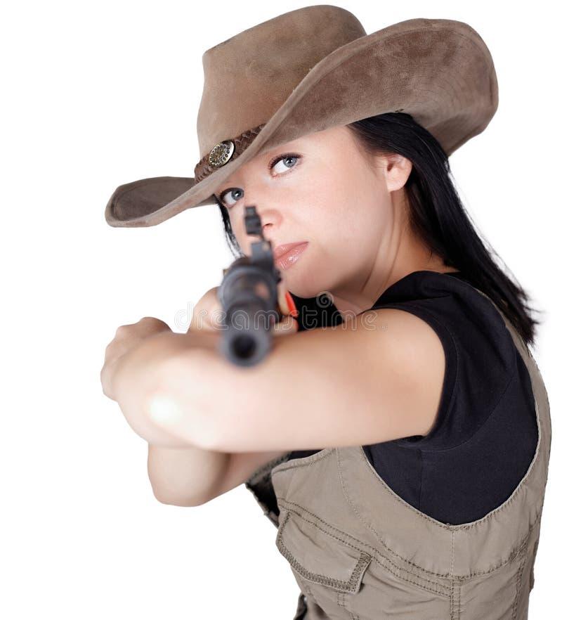 Mujer con el arma a disposición aislado imágenes de archivo libres de regalías