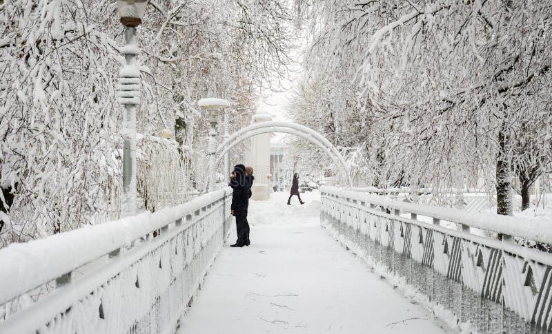 Mujer con el bebé en el puente en invierno en parque fotografía de archivo libre de regalías