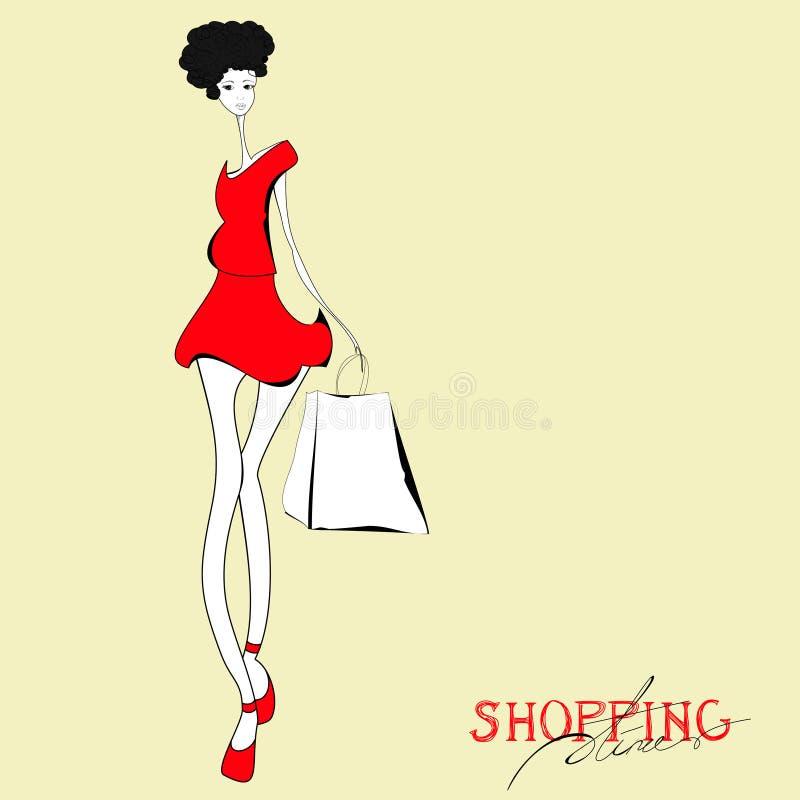 Mujer Con El Bolso De Compras Imagen de archivo libre de regalías