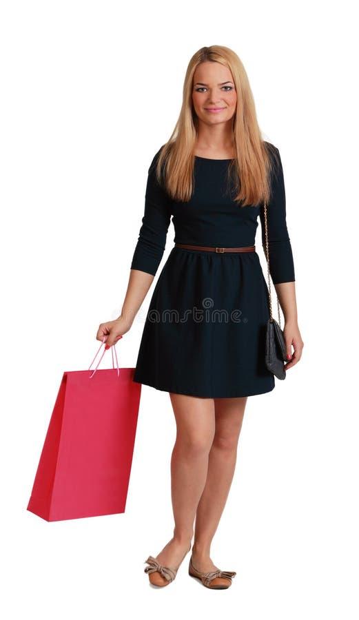 Mujer Con El Bolso De Compras Imagen de archivo