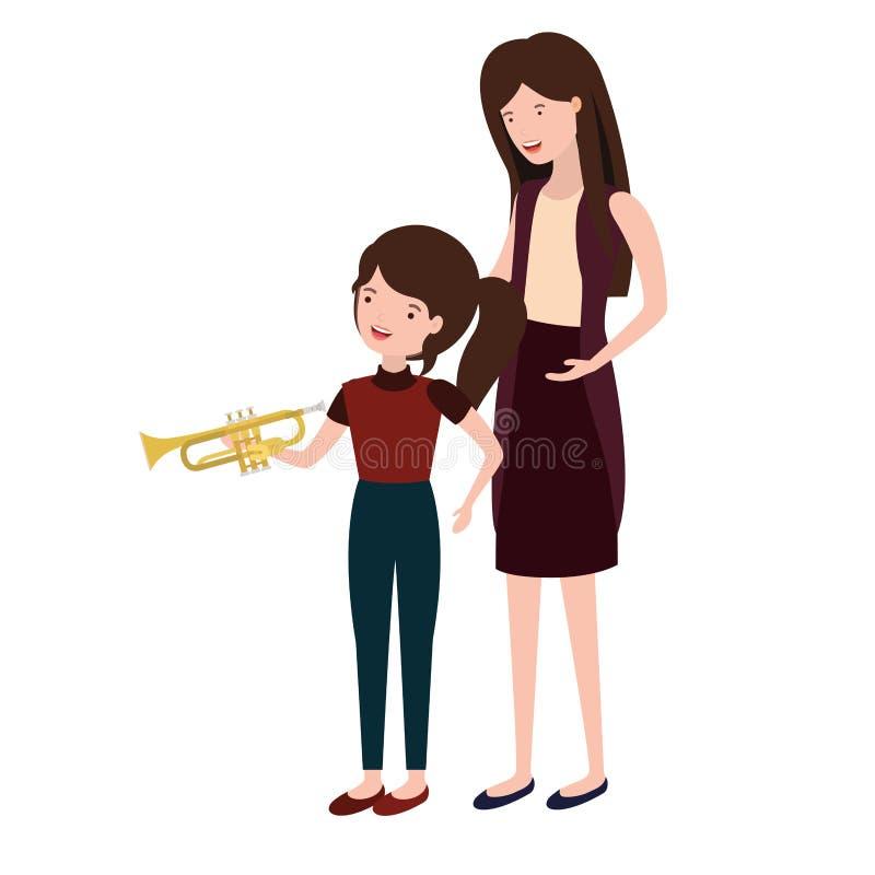 Mujer con el carácter del avatar de la hija y de la trompeta libre illustration