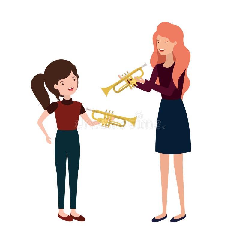 Mujer con el carácter del avatar de la hija y de la trompeta stock de ilustración