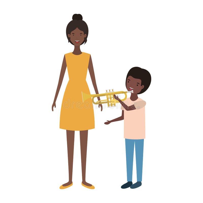 Mujer con el carácter del avatar del hijo y de la trompeta libre illustration