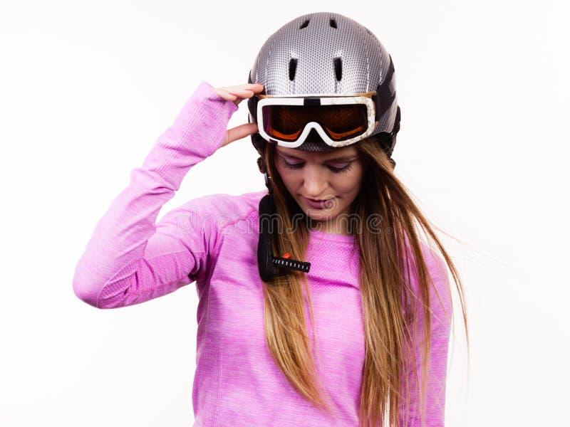 Mujer con el casco deportivo imágenes de archivo libres de regalías