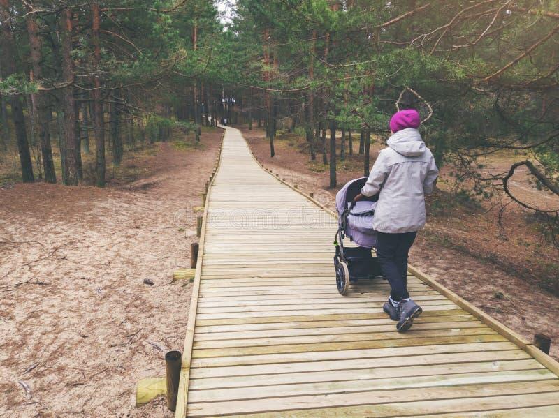 Mujer con el cochecito que camina en la trayectoria peatonal de madera en bosque fotos de archivo libres de regalías