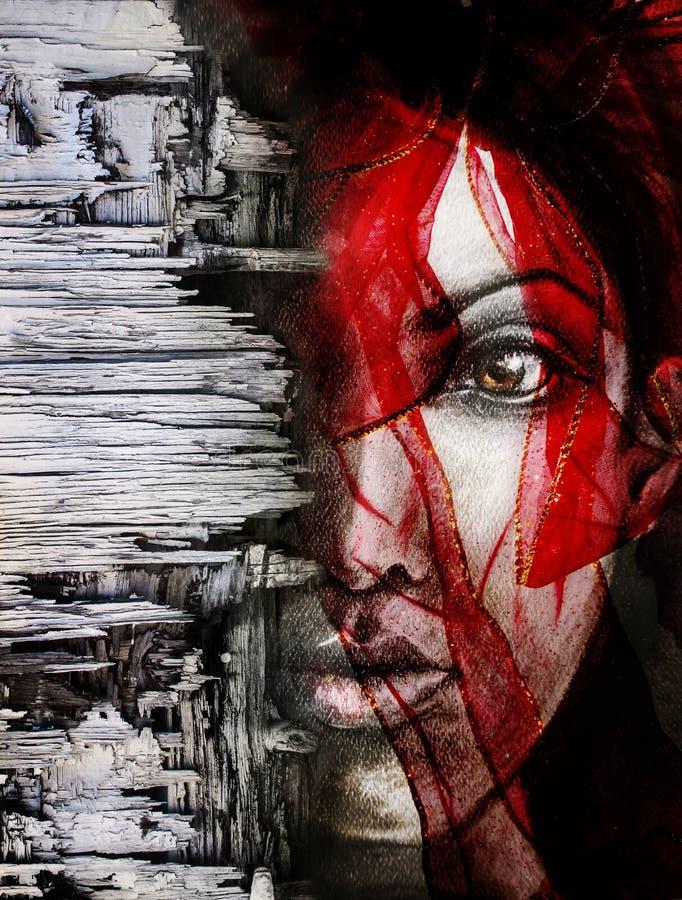 Mujer con el compuesto rojo del retrato de la bufanda stock de ilustración