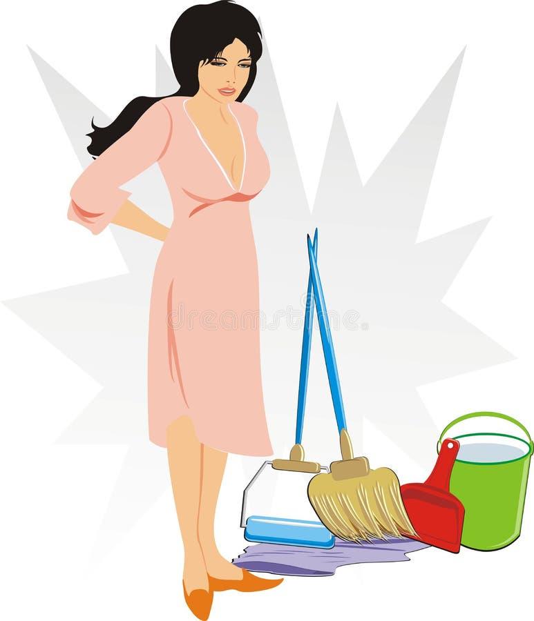 Mujer con el conjunto de los objetos para limpiar stock de ilustración