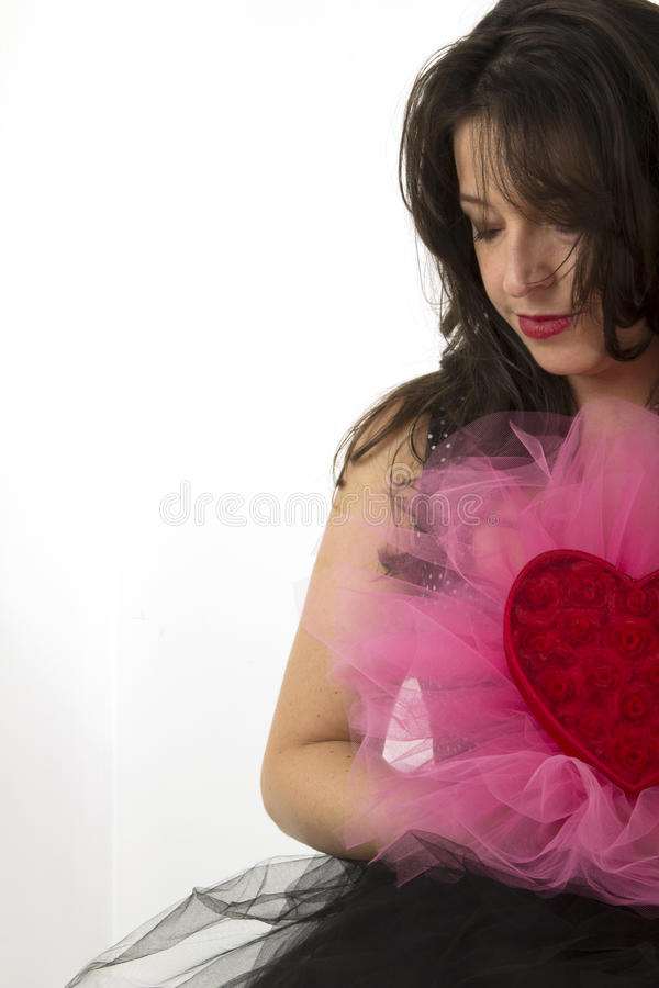 Mujer con el corazón imágenes de archivo libres de regalías