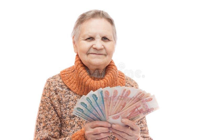 Mujer con el dinero fotos de archivo