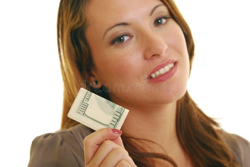 Mujer con el dinero imágenes de archivo libres de regalías