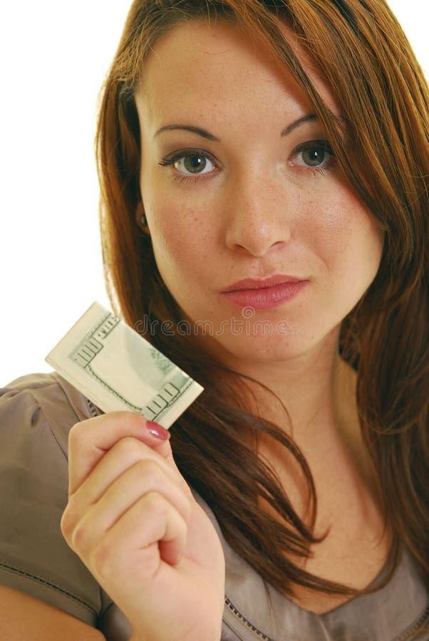 Mujer con el dinero foto de archivo