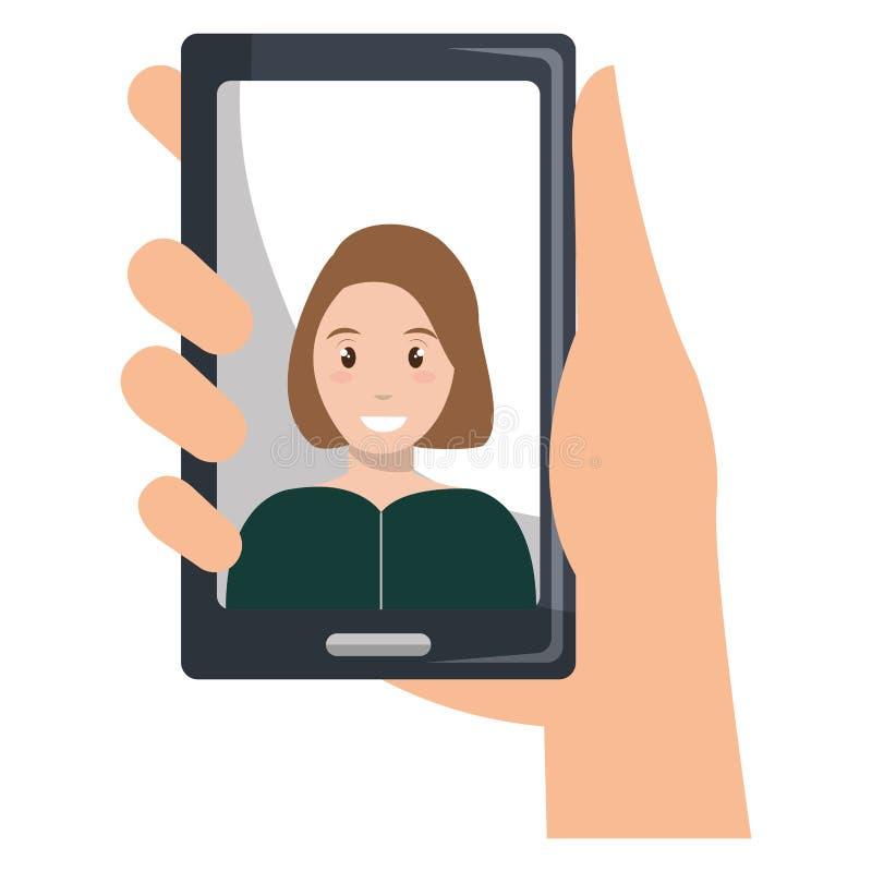 Mujer con el dispositivo del smartphone stock de ilustración