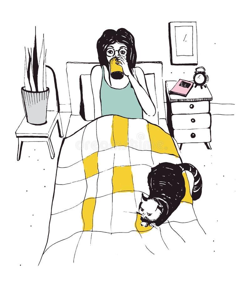Mujer con el gato en la cama Ilustración drenada mano del vector ilustración del vector