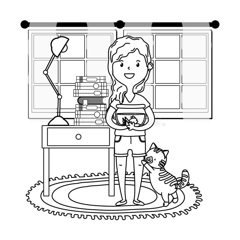 Mujer con el gato y fishbowl blanco y negro libre illustration