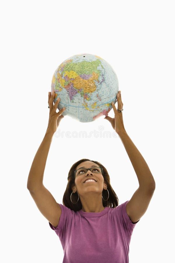 Mujer con el globo, fotos de archivo libres de regalías