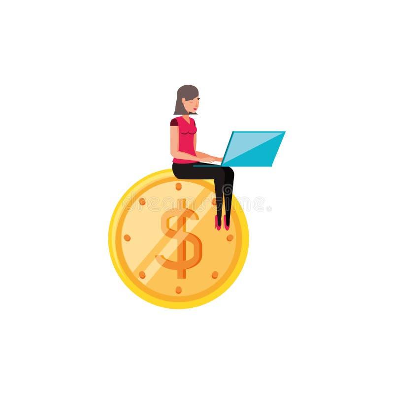 Mujer con el icono aislado dólar de la moneda ilustración del vector