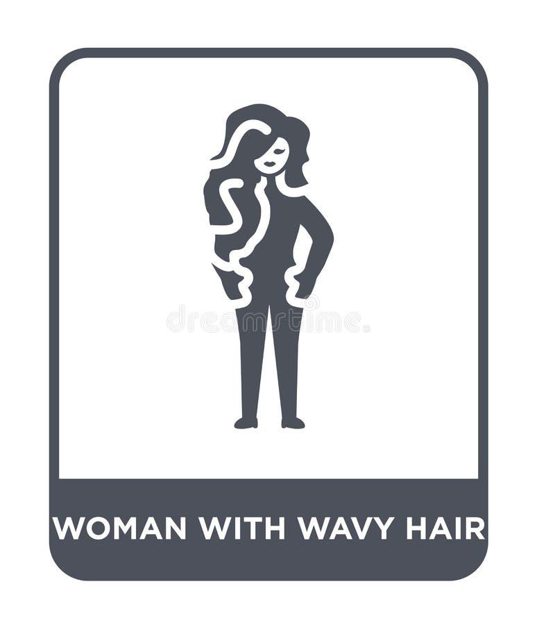 mujer con el icono del pelo ondulado en estilo de moda del diseño mujer con el icono del pelo ondulado aislado en el fondo blanco stock de ilustración