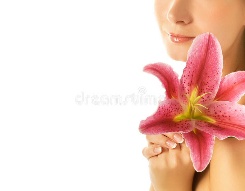 Mujer con el lirio rosado imagen de archivo libre de regalías