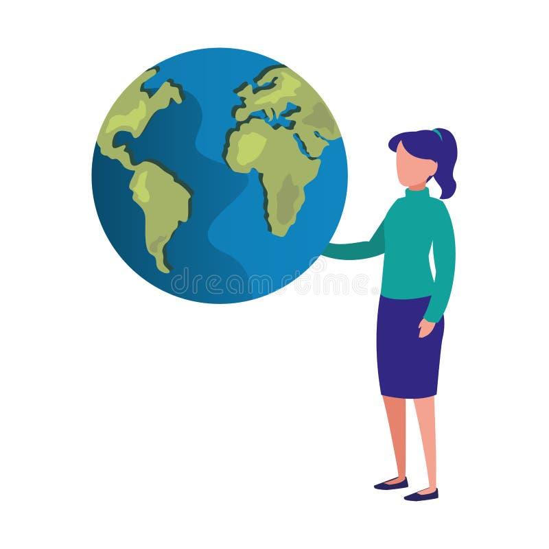 Mujer con el mapa del mundo libre illustration