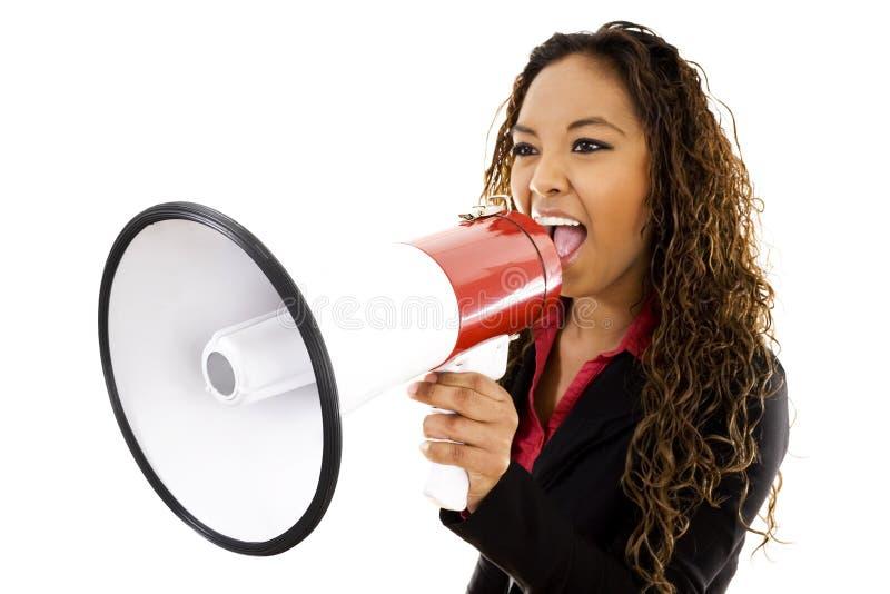 Mujer con el megáfono foto de archivo libre de regalías