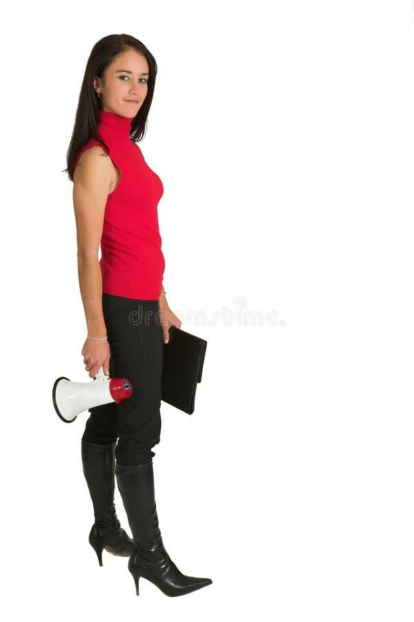 Mujer con el megáfono foto de archivo